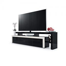 TV Stand Unit Leon V2, Carcass and raised stand in Black High Gloss / Front in Black High Gloss with a frame in Cream High Gloss