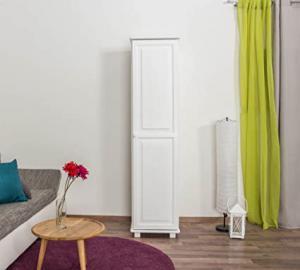 Tallboy Cabinet 004, solid pine wood, white finish, 1 door - H190 x W47 x D60 cm