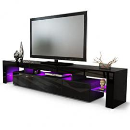 TV Stand Unit Lima V2, Carcass in Black / Front in Black High Gloss