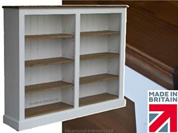 White Painted & Waxed Bookcase, 4ft x 5ft Solid Wood Contrasting Shelving Unit, Bookshelves. No flat packs, No assembly (BK16-P)