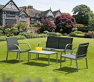 Stylish 4 Piece Patio Set - Modern Garden Furniture that Comes with Sofa, 2 Chairs, and A Table - Steel Framed