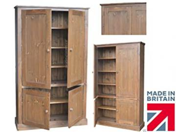 Solid Pine Storage Cupboard, 172 cm High Handcrafted & Waxed 4 Door Linen, Pantry, Larder, Filing, Hallway, Bathroom or Kitchen Storage Cabinet. Choice of Colours. No flat packs, No assembly (CUP100)