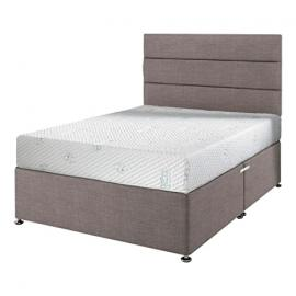 Happy Beds Impressions 1000 Cool Blue Pocket Sprung Orthopaedic Memory Foam Mattress with Divan Base, Lined Headboard, Slate Grey - Single