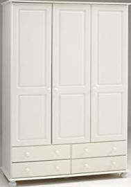 Steens Richmond White 3 Door 4 Drawer Triple Wardrobe Metal Drawer Runners