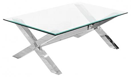 CONTEMPORARY CROSSLY RECTANGULAR GLASS TOP COFFEE TABLE WITH CHROME CROSSED LEGS