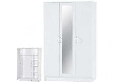 Alpha White High Gloss Two Tone 3 Door Mirrored Wardrobe, Wood, Multi-Colour