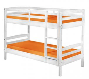 "Bunk bed frame, white, solid pine wooden bunk bed Frame ( 190X90 cm) "" Rick "", children beds"
