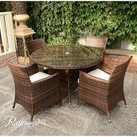 Rattan 4 seater round brown table garden set
