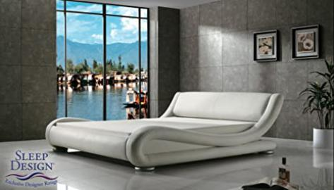Madrid Award winning Designer Bed White Faux Leather Double Size