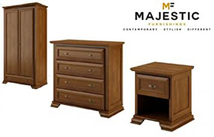 Bolero 3 piece walnut brown mdf bedroom set - bedside,chest, wardrobe