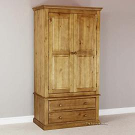 Cheshire Solid Pine 2 Door 2 Drawer Wardrobe