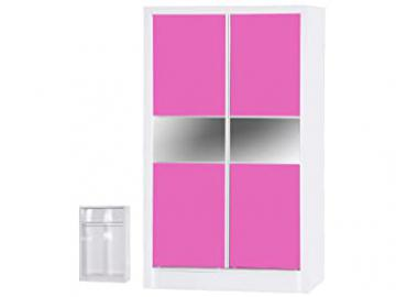 Alpha Pink High Gloss and White 2 Door Sliding Wardrobe, Wood, Multi-Colour