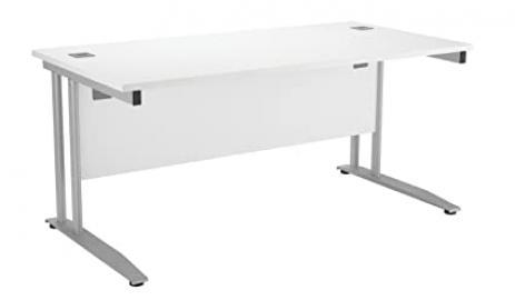 Office Hippo PRO Rectangular Desk, 180 cm - Silver Frame/White Top