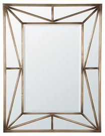 DUSX Contemporary Geometric Framed Mirror, Metal, Antique Gold, 127.5 x 3.5 x 97.5 cm