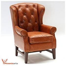Chesterfield Vintage Leather Wing Chair, Design Lounge 546