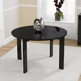 Paris Solid Oak Round High Gloss Dining Table (Chairs NOT included)