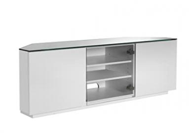 Milan Cityscape Designer White Gloss TV Unit with White Glass - Flat Pack