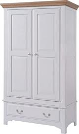 Devon Oak 1 Drawer Full Hanging Wardrobe Oak and Grey Painted Finish | Wooden Bedroom Furniture