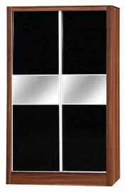 Alpha Black High Gloss & Walnut Effect 2 Door Sliding Wardrobe Mirrored Bedroom Unit
