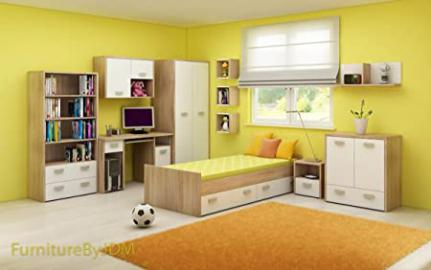 "Children Bedroom Furniture Set ""KITTY II"" Single Bed With Pillow Storage (mattress not included), Wardrobe, Desk, Chest Of 1 Drawer 2 Door, Free Standing Display Unit, Set Of Wall-mounted Shelves in Sonoma Oak Light/White Gloss (Full Set - 6 Pie"