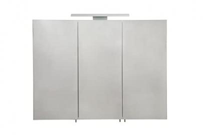 Croydex Hampton Triple Door Illuminated Cabinet with Hang N Lock Fitting System, Metal, Silver