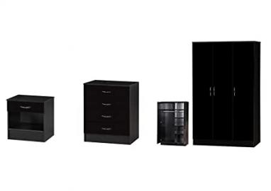 Alpha High Gloss Two Tone Standard Set, Wood, Black, 3 Piece