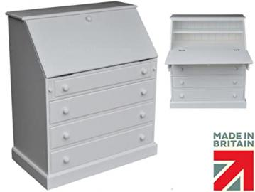 White Painted Bureau with Drawers, 3ft Wide Solid Pine Handcrafted Writing Desk. No flat packs, No assembly (TWB-4DP)