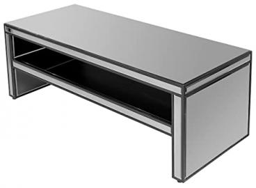 Febland Titanium Mirrored Coffee Table, Glass, Smoked Mirrored