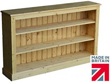 Solid Pine Bookcase, 3ft Tall x 5ft Wide Handcrafted & Waxed with 2 Adjustable Shelves, Bookshelves. Choice of Colours, No flat packs, No assembly (BK07)
