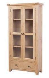 Devon Solid Oak Glazed Display Cabinet / Natural Oak Lacquer Display Unit / Living Room Furniture / Hallway Furniture / Dining Room Furniture / Bedroom Furniture