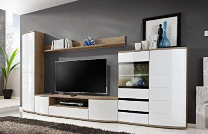 "JUST RELEASED - BMF ""TORONTO 2"" Modern Living Room WALL UNIT - Chest of Drawers TV Stand CABINETS TallBoy - LED GLASS SHELF - Curved High Gloss Fronts - SAN REMO / WHITE"