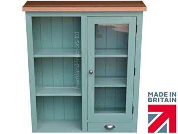 100% Solid Pine & Oak Dresser Top, Handcrafted & F&B Painted Bordeaux Options Half Glazed Wall Unit. (BDX1GDT-O) You Choose the Paint Finish! Green (30mm European Oak Top)