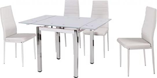 Camden White Glass Dining Table with Chrome Plated Legs 4 White Leather Chairs