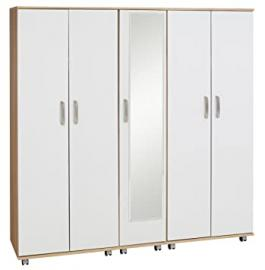 Ideal Furniture 5 Door Plus Mirror Wardrobe, Wood, Sonoma Oak Carcass/White Gloss Fronts