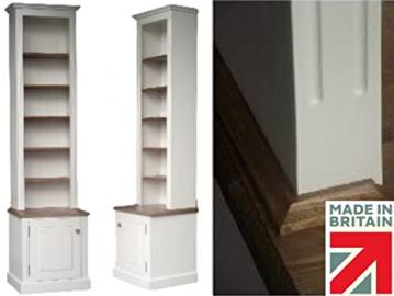 100% Solid Wood Bookcase, 8ft Tall White Painted & Waxed Alcove, Adjustable Display Shelving Unit, Bookshelves with Cupboard. No flat packs, No assembly (BK8DA)