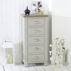 Grey Stone Painted 5 Drawer Tallboy Chest with Oak Top