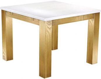 Brasil Furniture Dining Table 'Rio' 100x 100cm Solid Pine Wood–Snow–Brasil Colour
