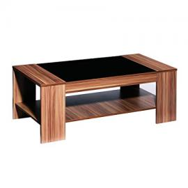 Protege Homeware Walnut Veneer Black High Gloss Detail Fargo Coffee Table