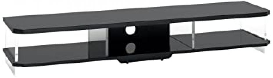TECHLINK Air 160 AI160B High Gloss Black Frame and Clear Glass Sides Stand for TV's Upto 80 inch