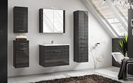 """6 Pcs. Viento Bathroom Furniture Set in Graphite High Gloss with Vanity 23.62"""" or 31.50"""" with LED Lighting - Washbasin 31.50"""""""