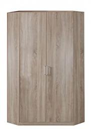 Oak Effect Corner Wardrobe Unit - 2 Doors - 8 Shelves -Hanging Rail - German Made Quality - Modern Metal Handles - Flat Packed For Home Assembly