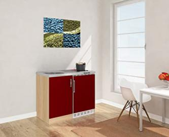 Respekta Mini Kitchen Kitchen Unit 100cm Imitation Rough Sawn Oak Front Red/MK 100Esrc