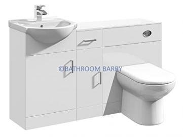 1300mm Modular High Gloss White Bathroom Combination Vanity Basin Sink Cabinet, Cupboard Unit, WC Toilet Furniture & BTW Pan