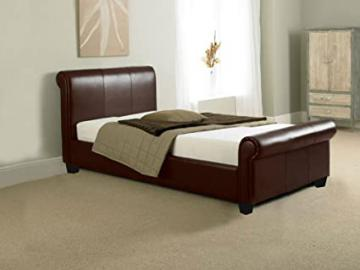 BRAND NEW 3ft BROWN FAUX LEATHER SLEIGH SINGLE SCROLL BED AND SLUMBER SLEEP ORTHOPAEDIC ORTHO MATTRESS