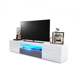 TV Unit Stand Santiago, Carcass in White High Gloss / Front in White High Gloss and Avola-Anthracite with LED lighting