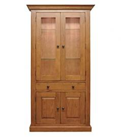 Tewkesbury Large Display Cabinet with Glass Doors & Shelves in Light Oak Finish | Wooden Storage Cupboard