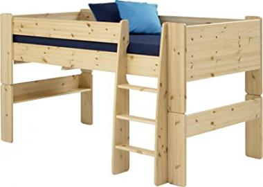 Steens Kids Mid Sleeper Bed Frame with Ladder, Natural Lacquer Finish