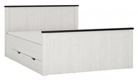 Furniture To Go Provence Bed with Storage Drawers, Wood, Whitewash Larch Finish/Dark Chocolate, Double