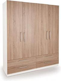 Euston 4 Door Wardrobe with 4 Drawers White Oak | Bedroom Furniture