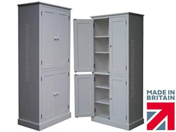 100% Solid Wood Cupboard, 188 cm Tall White Painted 4 Door Pantry/Larder/Linen/Kitchen Cabinet. No flat packs, No assembly (CUP11P)